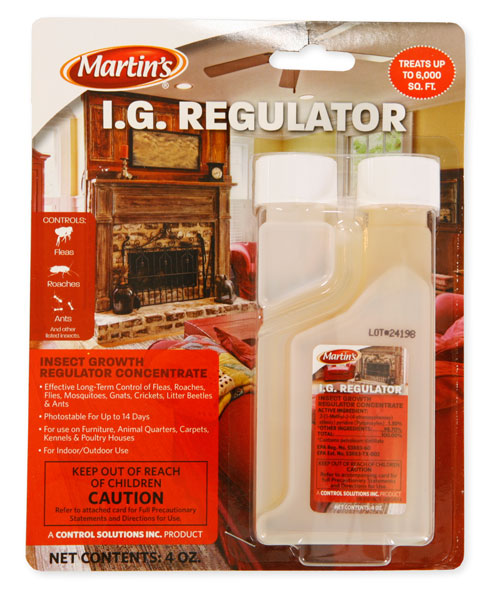 Can Martins IG Regulator with pyriproxyfen be sprayed directly on livestock to control horn flies?
